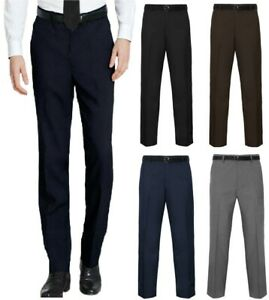 Mens Belted Trousers Formal Casual Smart Office Business Dress Pants Trousers