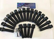 16 X M14X1.25 Negro Extendido Aleación Pernos De Rueda + 4 X Cerraduras 50 mm Mini Ajuste del hilo de rosca