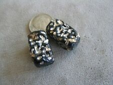 Pr Vintage Foil Art Glass Beads, Black Silver 21x12mm