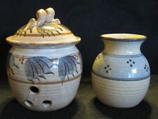2 HAND THROWN POTTERY JARS Signed/Stamped B, Potpouri Container with Lid, Vase