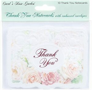 For Arts Sake E1 Carol Wilson Apricote Roses & Lace Thank You Cards 10pk BTY0118