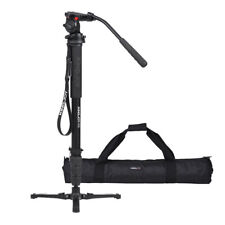 Compact Travel Monopod with Fluid Pan Head Portable Stand for DSLR Camera