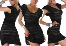 Sexy Miss Lock Tricot Robe Glamour Robe Argent Lurex 34/36/38 Noir Neuf Top