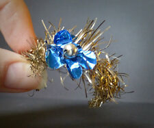 Antique Gold Tinsel Crescent w/Blue Tinfoil Flower Christmas Ornament Mid 1800's