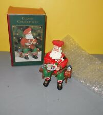 1997 May Department Stores Christmas Figure Santa Artist Sitting Bench w/Paints