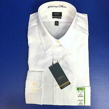 Arrow Mens 17 Classic Fit Poplin Dress Shirt White LS 32/33 Point Collar No Iron