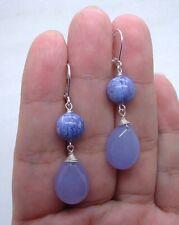 Smooth Purple Chalcedony W. Purple Chaorite Sterling Silver Earrings  A1211
