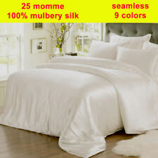 25mm 100% Silk Duvet Quilt Cover Fitted/Bottom Sheets Pillow Cases Set Seamless
