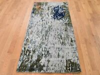 "2'7""x8' HiLow Pile Abstract Design Wool & Silk Runner HandKnotted Rug G45586"