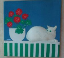 Cat Lovers Puffy White Kitty with Red Geranium Lg Vintage Marushka Screen Print