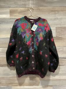 Icelandic button front mohair cardigan black floral