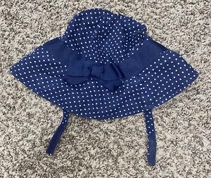 infant girls gymboree sun hat navy blue white polkadots 6-12 months