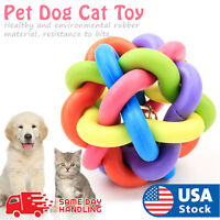 Pet Dog Cat Toy Colorful Rubber Round Ball With Bell Puppy Training Chewing Toy