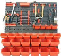 45 teiliges SET Lagersichtboxenwand Stapelboxen mit Montagewand Werkzeugwand