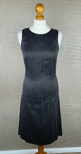 HUGO BOSS Gr. 40 Kleid Business Seide Baumwolle Etui Dress Grau gestreift #306