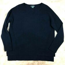 Griffen Cashmere Womens Small Navy Blue Comfy Knit Sweater