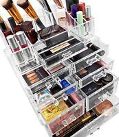 Sorbus Acrylic Cosmetics Makeup and Jewelry Storage Case Display Sets –Interlock