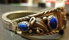 Lapis Lazuli 24 gm 925 Working Watch New listing Sterling Silver Watch Band Signed Jj