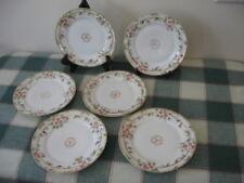 """6 Hand Painted Nippon Dessert Plates 6.25"""" Cherry Blossom GOLD Dot Trim Morimura"""
