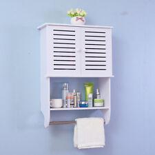 Bathroom Kitchen Wall Mounted Cabinet Double Door Hanging Bar Storage Cupboard