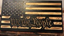 "24"" Handmade US WE THE PEOPLE American Wooden Torched Wood Rustic Primitive Flag"