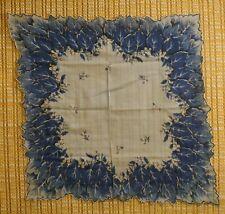 Vintage Linen Hankie - Blue w/ Berry & Leaf print - scalloped edges