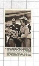 1947 Senora Eva Peron Arriving At Nice, Receiving Bouquet