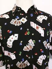 Campia Moda Men's Short Sleeve Rayon Texas Hold Em Poker Casino Shirt Medium