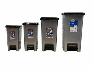 Pedal Bin Kitchen Waste Plastic Bathroom Slim Rubbish Dustbin Foot Home Office
