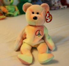 COLLECTORS MUST HAVE - PEACE Beanie Baby Bear - w/ ERRORS, RARE RETIRED