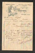 """FIGEAC (46) GRAINS GRAINES FRUITS SECS """"A. SERRES & L. DESOMBES"""" en 1908"""