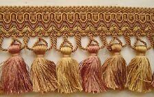 "3.75"" Tassel Fringe antique gold rust brown Has Match Gimp Braid bullion fringe"