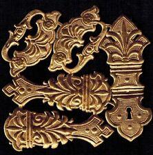 LOCK HINGE CLASP HARDWARE BOOK BOX DRESDEN GERMANY ANTQ GOLD PAPER METALLIC KEY
