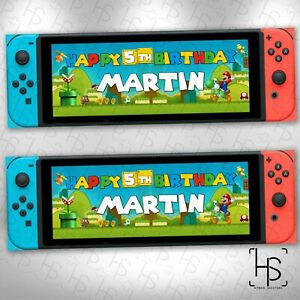 Nintendo Switch Super Mario Personalised Banner 160GSM Party Paper Birthday Game