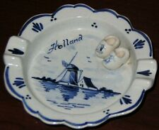 Vintage DELFT Ashtray Made in Holland~ Blue with Ship Boat and Shoes