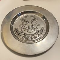 Vintage Wilton Armetale USA Bicentennial Plate Eagle Seal Pewter Large Round