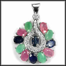 Natural Emerald Ruby Sterling Silver Fine Jewellery