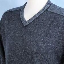 Calvin Klein Lambswool Heathered Blue V Neck Casual Sweater Jumper Mens XXL 2XL