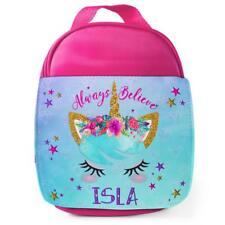 Personalised Lunch Bag CUTE UNICORN FACE Pink School Girls Kids Box KS33