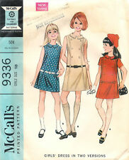 Vintage 1968 McCall's # 9336 Sewing Pattern Girls' Dress In Two Versions Size 10