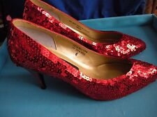 Red Sequin Ruby Slippers Dorothy Wizard of Oz Costume Heels Shoes 6