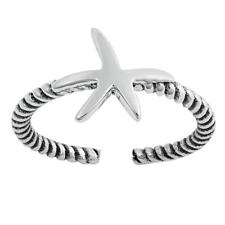 Starfish Design Toe Ring Face Height: 8 mm Sterling Silver 925 USA Seller