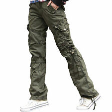 Womens Ladies Combat Casual Cargo Cotton Military BOYFRIEND Trousers Pants Jeans Olive UK 10 - Euro 38 - Medium