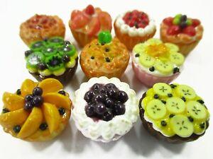 Dollhouse Miniature Food 10 Mixed Fruit Tart Cupcake 1:6 Bakery Dessert 15453