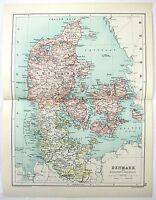 Original 1909 Map of Denmark by John Bartholomew, Antique