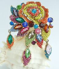 Gorgeous Multicolor Rhinestone Crystal Flower Brooch Pin Pendant 06454C6