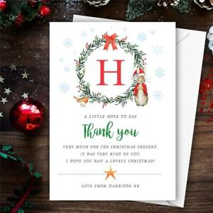 10 Personalised Christmas Peter Rabbit initial Thank You Cards notes