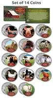 Collectible FARM ANIMALS Colorized JFK Kennedy Half Dollar U.S. 14-Coin Full Set