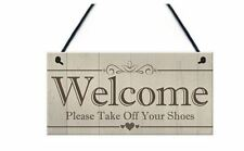 Wooden Wood Welcome Please Take of Your Shoes Hanging Board Door Sign Plaque