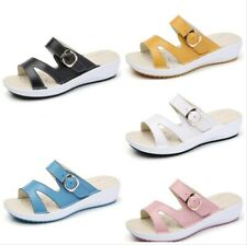 Women's Buckle Summer Casual Slippers Sandals Flats Mules Fashion Beach Shoes L